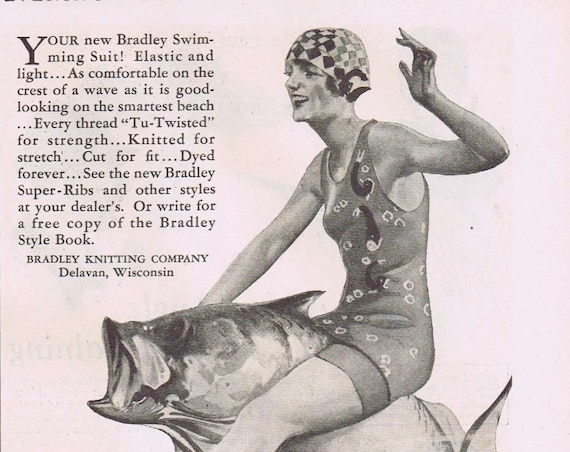 Old Women's Bradley Swimming Suit or Blackhawk Car Water Pumps 1927 Advertisement