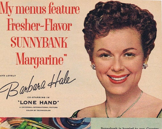 Barbara Hale 1953 Sunnybank Margarine Original Vintage Advertisement as Safeway Grocery