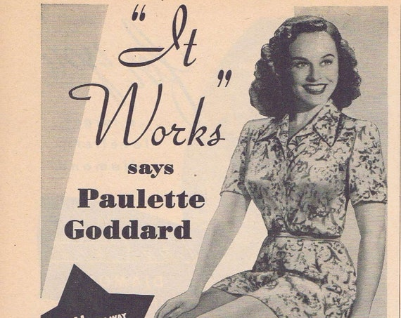 Beautiful Paulette Goddard and Pretty Legs Ayds Weight Loss Plan Original Vintage 1951 Advertisement