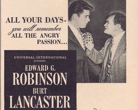 All My Sons 1948 Original Vintage Movie Ad with Burt Lancaster and Edward G. Robinson