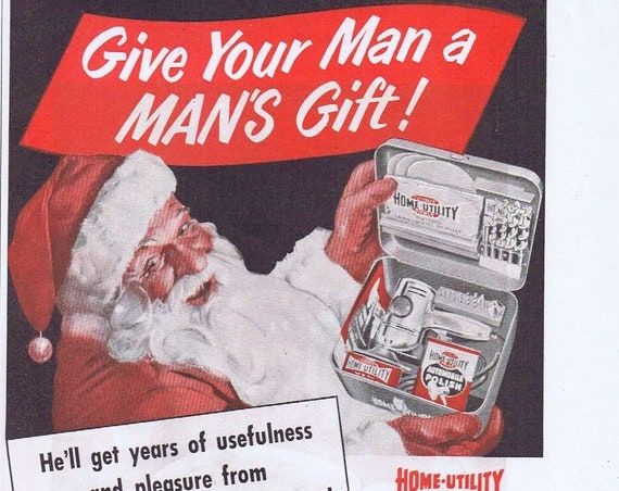 1944 Black & Decker Home-Utility Power Tools Christmas Original Vintage Advertisement with Santa Claus
