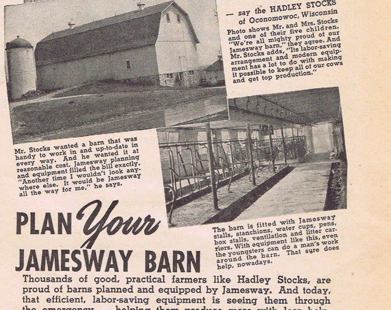 1942 Jamesway Farm Barns Original Vintage Old Advertisement with Hadly Stocks Family of Oconomowoc, Wisconsin