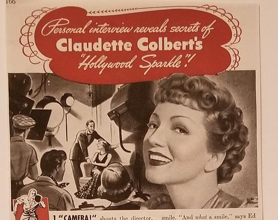 Claudette Colbert 1940 Calox Tooth Powder Original Vintage Advertisement Hollywood Sparkle Secret
