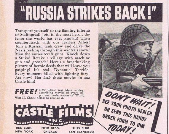 WW2 8mm Home Movies Russia Strikes Back and U.S. Carrier Fights for Life 1943 Original Vintage Advertisement