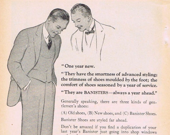 1924 Banister Men's Shoes Original Vintage Advertisement with Advanced Styling