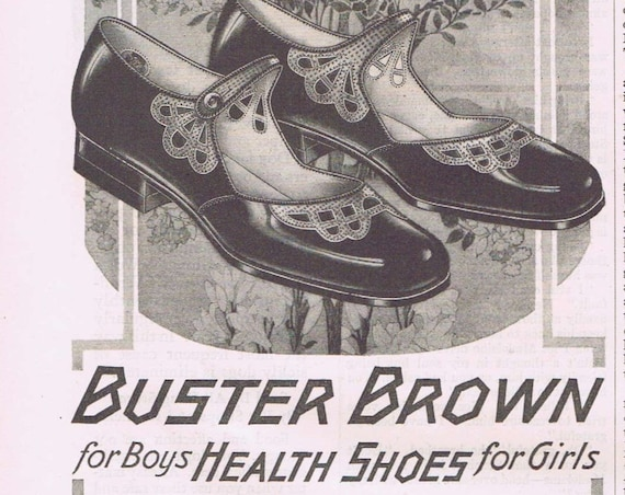 Health Buster Brown Shoes for Boys and Girls 1927 Old Advertisement