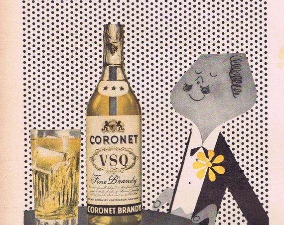1943 Coronet V.S.Q. Brandy Original Vintage Advertisement Buy War Bonds First