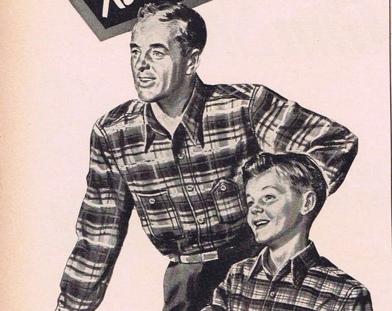 1943 Big Yank Father and Son Flannel Shirts by Reliance Manufacturing Original Vintage Advertisement with Buy War Bonds in Drawing