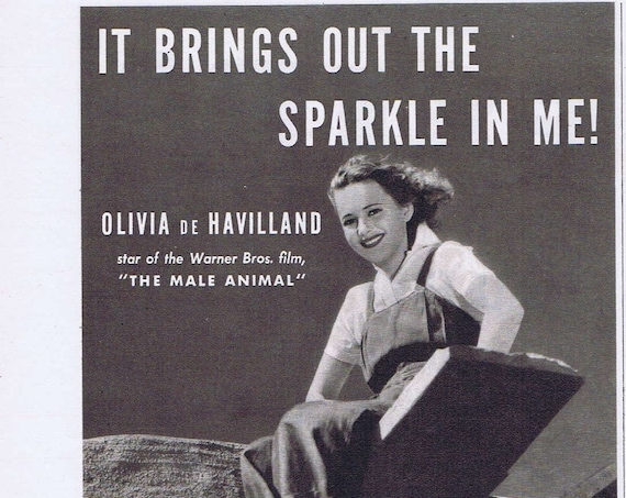 Olivia de Havilland Calox Tooth Powder or Castle 8 and 16mm War Films Original 1942 Vintage Advertisement