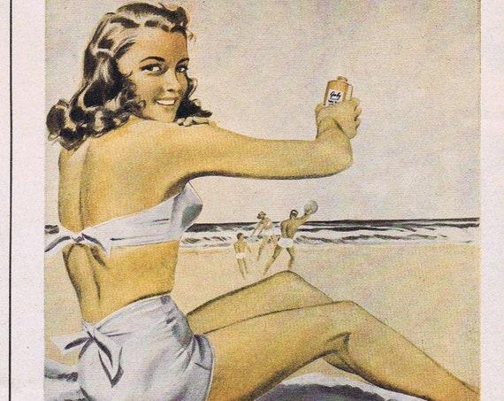 1946 Gaby Suntan Lotion with Swimsuit Beauty Original Vintage Advertisement