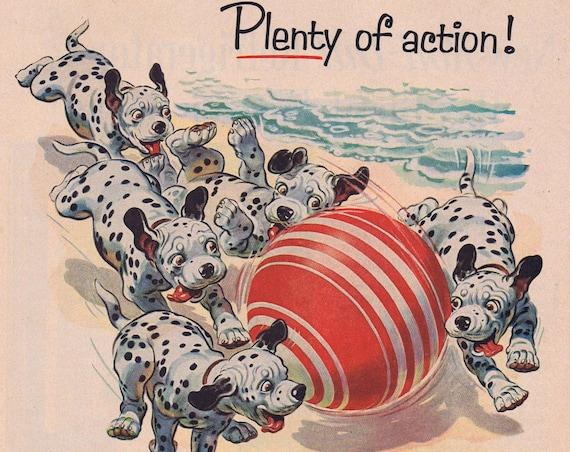 1956 Texaco Gasoline Original Vintage Advertisement with Cute Dalmatians