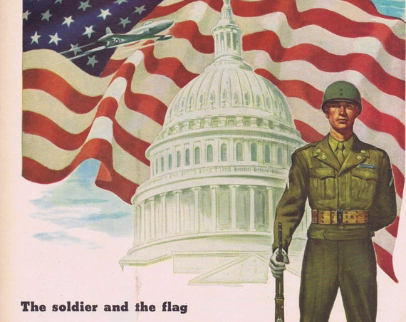 1947 U.S. Army Recruiting Original Vintage Advertisement with Soldier and the Flag