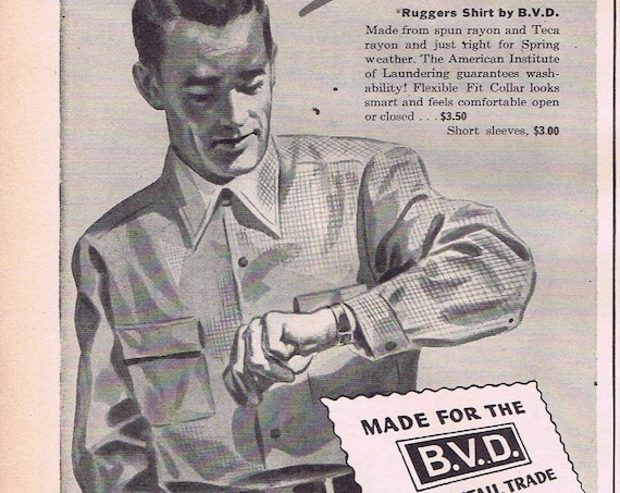 1944 B.V.D. New Ruggers Men's Shirt Original Vintage Advertisement