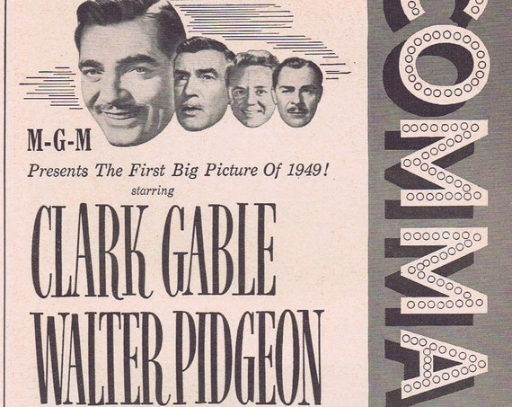 WW2 Film Command Decision 1949 Original Vintage Movie Ad with Clark Gable or Ansco Film and Camera Ad