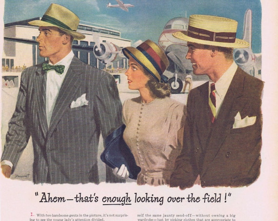 1947 Stetson Hats for Men and Women Original Vintage Advertisement at Airport