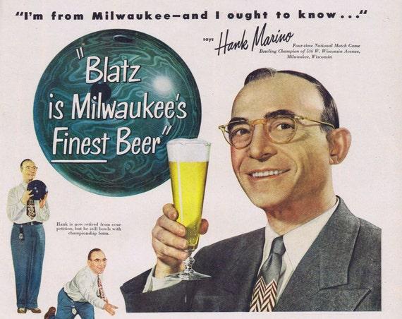 1949 Blatz Beer Original Vintage Advertisement with Bowling Champion Hank Marino