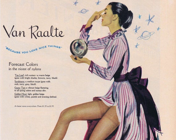 1949 Van Raalte Nylons Original Vintage Advertisement with Beautiful Hosiery Model