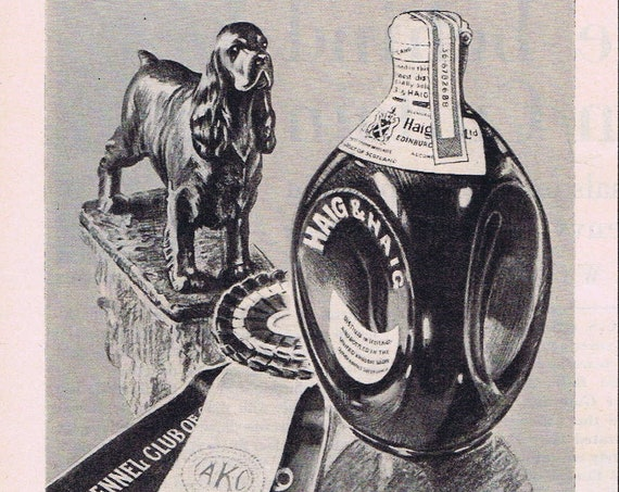 1946 Haig & Haig Five Star Scotch Whiskey Original Vintage Advertisement with Morgan Dennis Dog Statue