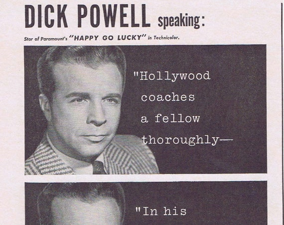 1943 Dick Powell and Calox Tooth Powder Original Vintage Advertisement