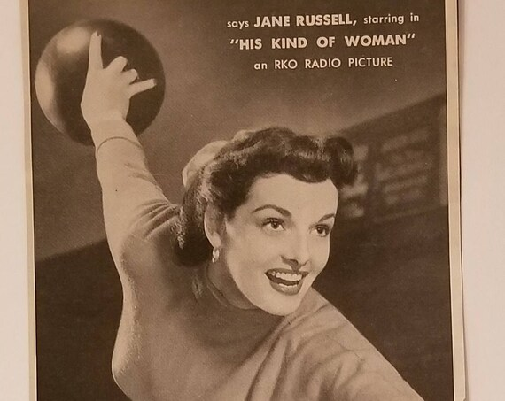 Jane Russell 1951 Jergens Hand Lotion Original Vintage Advertisement Bowling and Playing Badminton