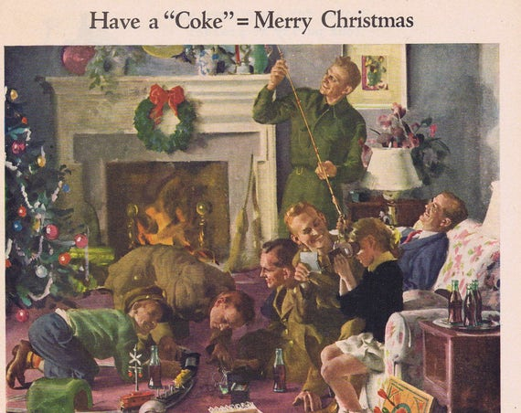1944 Coca-Cola Soda Christmas Original Vintage Advertisement with Soldiers and Family