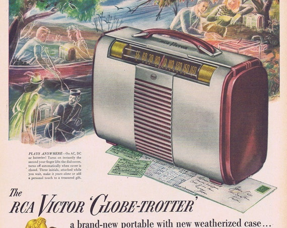 1946 RCA Victor Globe-Trotter Portable Radio Original Vintage Advertisement