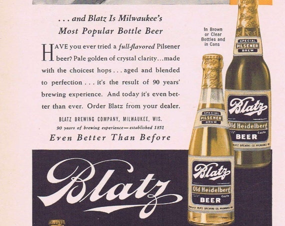 1941 Blatz Old Heidelberg Beer Original Vintage Advertisement with Sun Valley Woman Skiing
