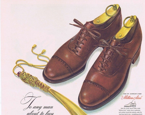 1942 Jarman Shoes for Men Original Vintage Advertisement Let the Shoe Horn Be the Judge