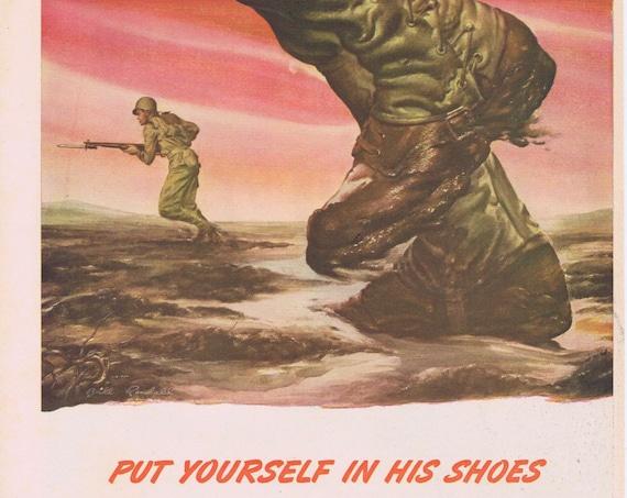 1944 Belmont Radio WWII Original Vintage Advertisement with U.S. Foot Soldiers