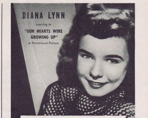 Pretty Diana Lynn and Fleers Candy Coated Chewing Gum 1946 Original Vintage Advertisement