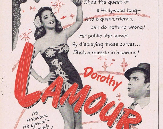Dorothy Lamour and A Miracle Can Happen or On Our Merry Way 1950 Vintage Movie Ad with James Stewart and Henry Fonda.