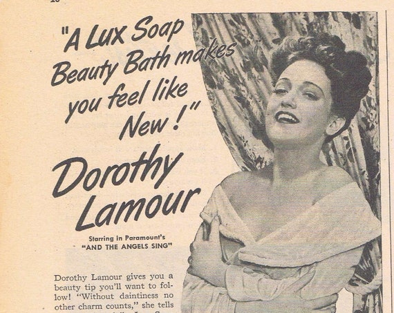 1944 Dorothy Lamour Lux Toilet Soap or Ipana Dentist and Toothpaste Original Vintage Advertisement