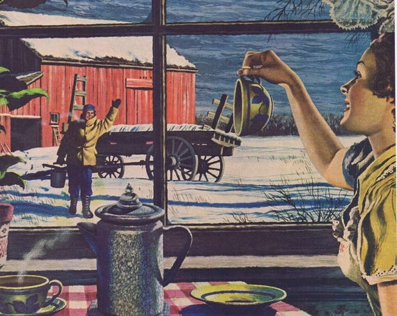 1949 Maxwell House Coffee Original Vintage Ad in Beautiful Winter Country Scene Drawing