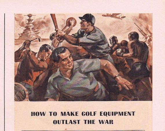1942 WW2 American Sports Player's War Pledge Original Vintage Advertisement