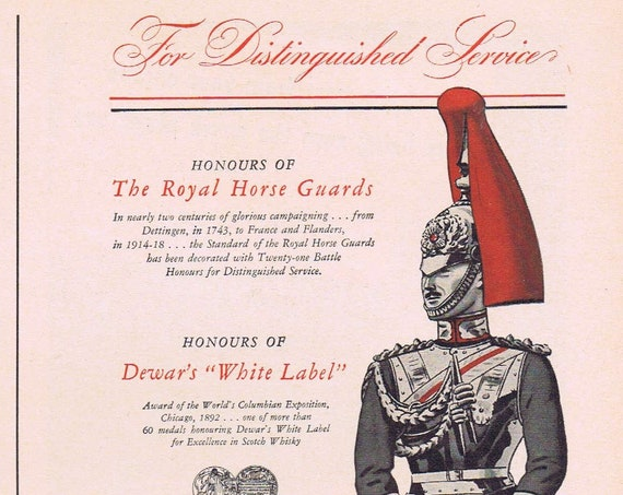 1941 Royal Horse Guard and Dewar's White Label Scotch Whiskey or Champion Spark Plugs Original Vintage Advertisement