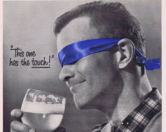 1956 Pabst Blue Ribbon Beer Blind Taste Test Original Vintage Advertisement