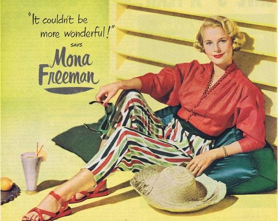 1951 Lux Flakes Detergent Original Vintage Advertisement with Beautiful Mona Freeman