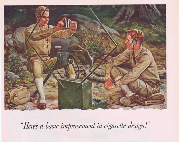 1941 Pall Mall Cigarettes WW2 Original Vintage Advertisement with Signal Corp Soldiers art by John Falter