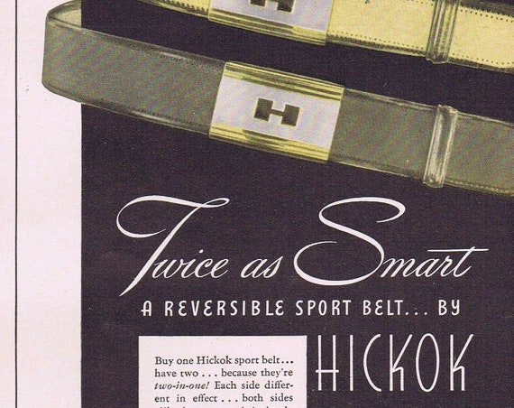 1942 Hickok Men's Sport Belts Original Vintage Advertisement