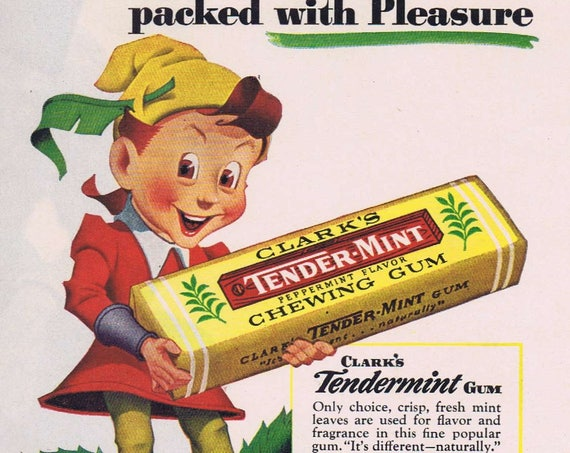 1942 Clark's Teaberry & Tender-Mint Chewing Gum Original Christmas Ad with Leprechaun