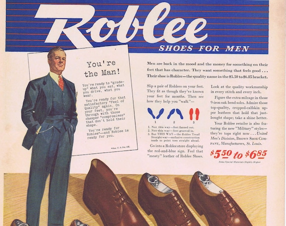 1941 Roblee Shoes for Men Original Vintage Advertisement with 5 Different Styles
