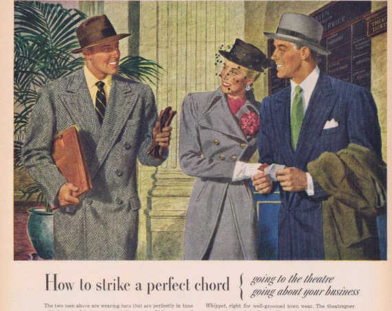 1947 Stetson Hats for Men and Women Original Vintage Advertisement for Business and Leisure