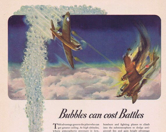 1942 Thompson Aircraft Products WW2 Era Original Vintage Advertisement and Bubble can Cost Battles
