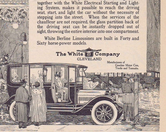 1913 White Berlin Limousine Original Vintage Automobile Advertisement by The White Cleveland Company