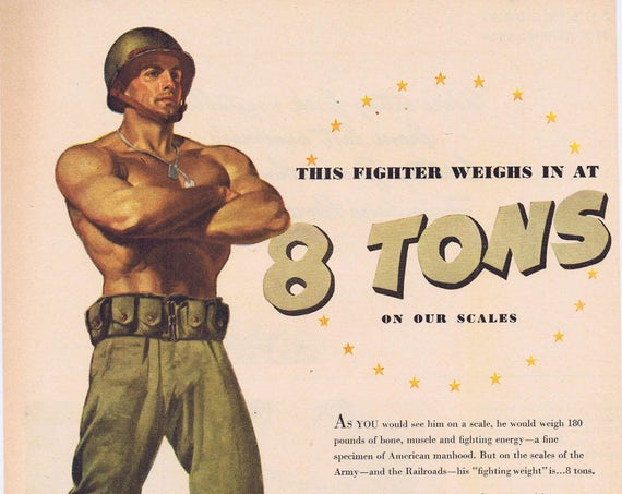 1944 Pennsylvania Railroad WW2 Original Vintage Advertisement with Muscular Soldier