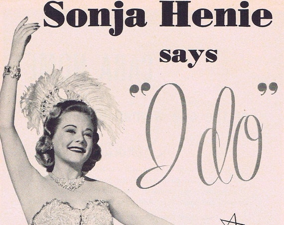 1951 Sonja Henie Skating Champion and Film Star for Ayds Weight Loss Original Vintage Advertisement
