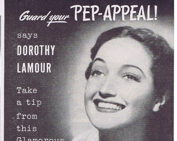 1945 Dorothy Lamour and Bexel Vitamins Original Vintage Advertisement