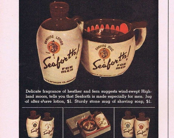 Seaforth Shaving Mugs and Lotion for Dad or Revelation Smoking Tobacco Old 1942 Ad