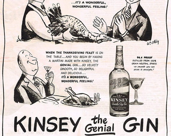 1944 Kinsey the Genial Gin Thanksgiving Original Vintage Ad William Steig Art
