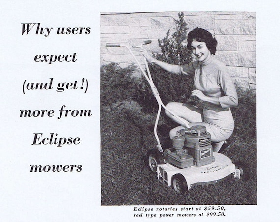1957 Eclipse Lawn Mower Original Vintage Advertisement with Eclipse Extras